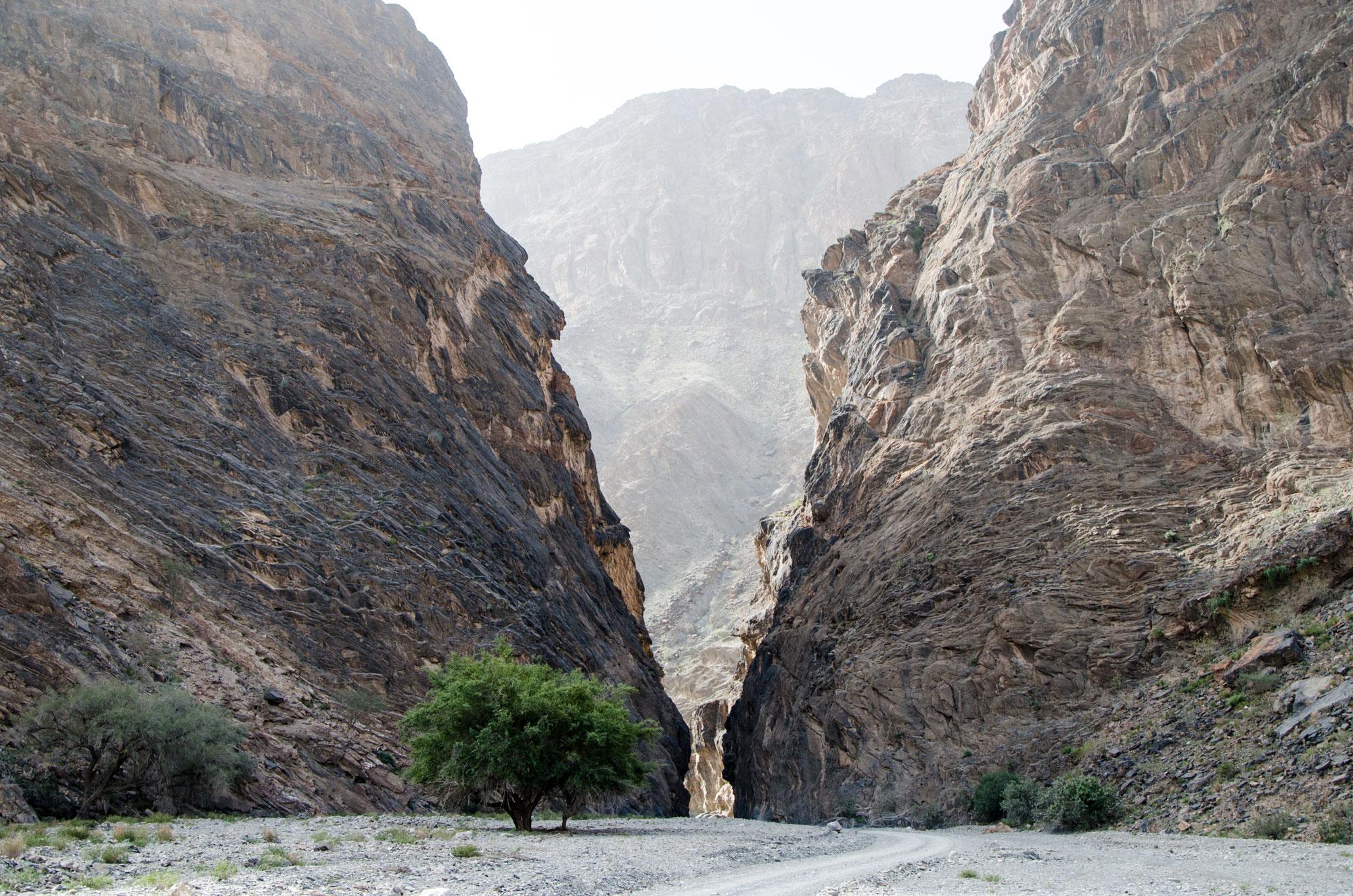 Die Straße im Wadi Bani Awf führt durch eine Felsenge. Foto: Lothar Ruttner