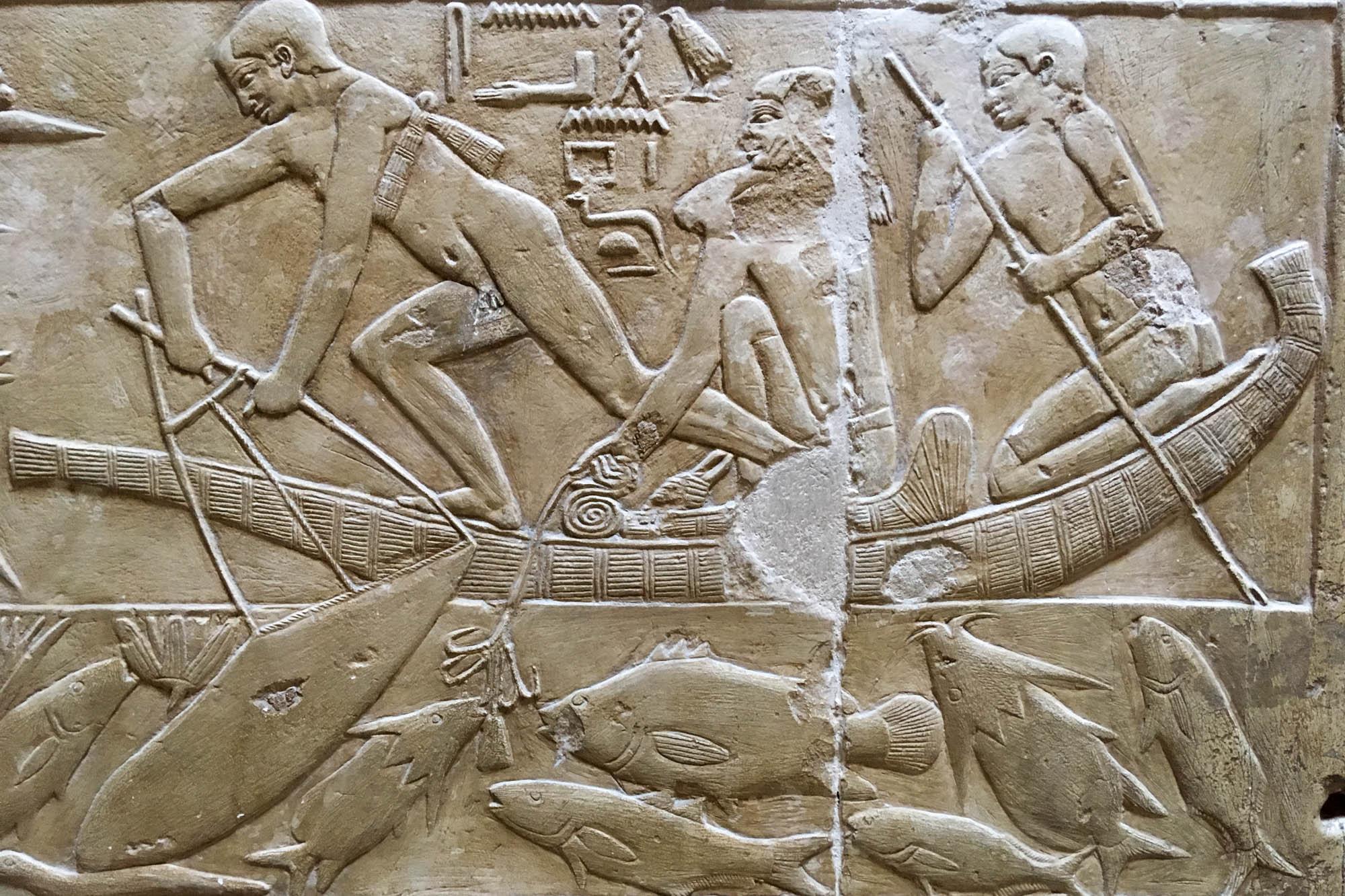 Sogenannte Szenen aus dem täglichen Leben finden sich in den meisten dekorierten Mastaba-Gräbern von hohen Beamten des Alten Reichs, wie hier in der des Mereruka. Foto: Lothar Ruttner