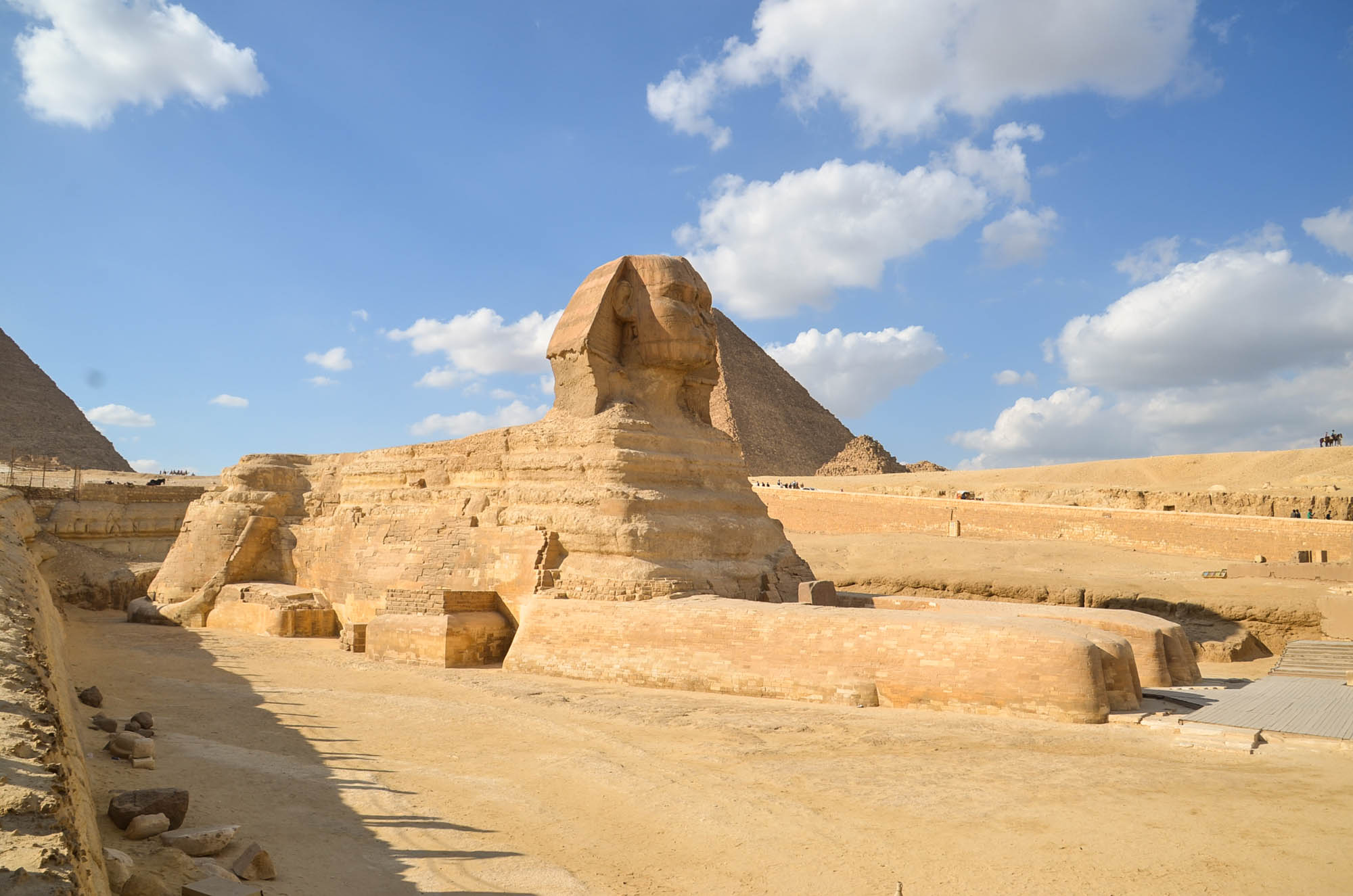 In Ägypten ist der Sphinx männlich. Der liegende Löwe mit Menschenkopf bewacht die Pyramiden seit rund viereinhalbtausend Jahren. Er wurde vermutlich in der Regierungszeit von Chefren errichtet. Foto: Matthieu Götz